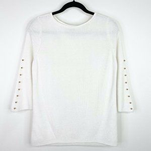 Chico's Embellished Sleeve Sweater Shirt Top M